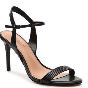 Halston Heritage Leather Heels Sandals Black